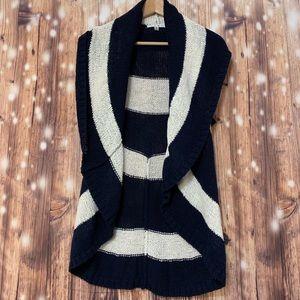 CAbi stripped nautical skipper sweater vest Size M
